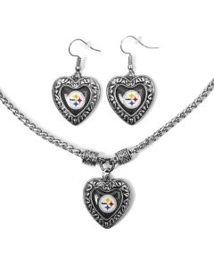 Pittsburgh Steelers Charmed Heart Pendant & Earrings Set