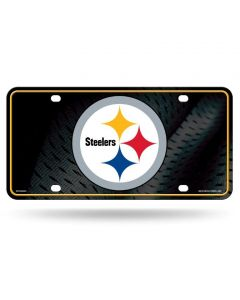 Pittsburgh Steelers Logo with Metal Grid Background License Plate