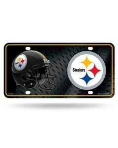 Pittsburgh Steelers Logo & Helmet with Metal Grid License Plate