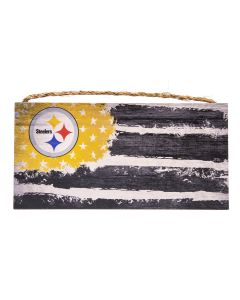 Pittsburgh Steelers Distressed Flag Wood Sign