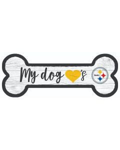 Pittsburgh Steelers Dog Bone Wood Sign