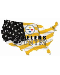 Pittsburgh Steelers Team Flag Country 18in. Wood Sign