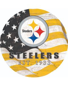 Pittsburgh Steelers Team Flag Circle Wood Sign