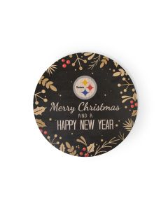 Pittsburgh Steelers Merry Christmas & Happy New Year Wood Sign