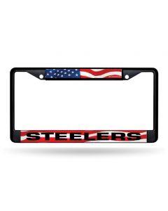 Pittsburgh Steelers Stars & Stripes Metal Black License Plate Frame