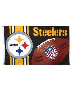 Pittsburgh Steelers Wordmark Football 3x5 Flag