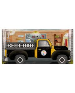 Pittsburgh Steelers Best Dad Truck Wood Sign