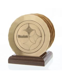 Pittsburgh Steelers Wendell August Forge 4 Piece Bronze Coaster Set with Caddy