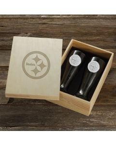 Pittsburgh Steelers Wendell August Forge 2-Piece Pilsner Set with Collectible Box