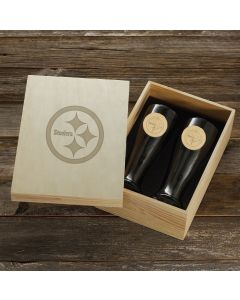Pittsburgh Steelers Wendell August Forge 2-Piece Bronze Pilsner Set with Collectible Box