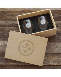Pittsburgh Steelers Wendell August Forge 2-Piece Stemless Wine Glass Set with Collectible Box