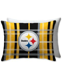 """Pittsburgh Steelers Plaid & Sherpa 20""""x26"""" Pillow"""
