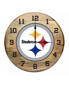 Pittsburgh Steelers Oak Barrel Clock