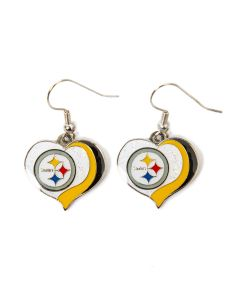Pittsburgh Steelers Glitter Heart Earrings