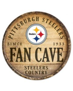 """Pittsburgh Steelers Fan Cave 14"""" Round Wood Sign"""