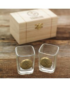 Pittsburgh Steelers Wendell August Forge Customizable 2 Piece Bronze Shot Glass Set