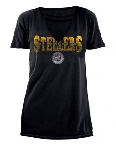 Pittsburgh Steelers Women's Cut Out Neck Short Sleeve T-Shirt