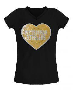 Pittsburgh Steelers Girl's Reverse Sequin Short Sleeve Tee