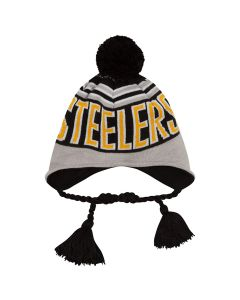 Pittsburgh Steelers New Era Wintry Worded Tassel Knit Cap