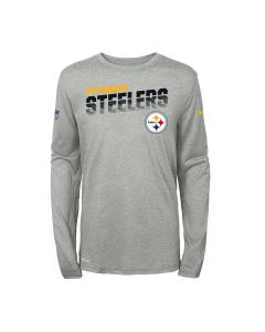 Pittsburgh Steelers Boys' Nike Long Sleeve Line of Scrimmage Heather Grey T-Shirt