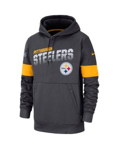Pittsburgh Steelers Men's Nike Line of Scrimmage Therma Charcoal Hoodie