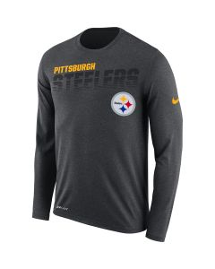 Pittsburgh Steelers Men's Nike Long Sleeve Line of Scrimmage Charcoal T-Shirt