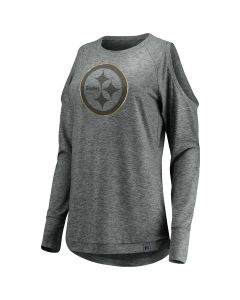 Pittsburgh Steelers Women's Versalux Cold Shoulder Long Sleeve T-Shirt