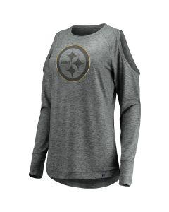 Pittsburgh Steelers Women's Versalux Cold Shoulder Long Sleeve T-Shirt