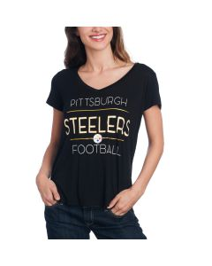 Pittsburgh Steelers Women's New Era Jersey Short Sleeve V-Neck Tee