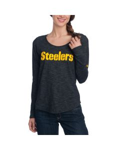 Pittsburgh Steelers Nike Women's Stencil Slub Long Sleeve T-Shirt