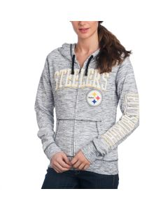 Pittsburgh Steelers Women's New Era Space Dye Full Zip Hoodie