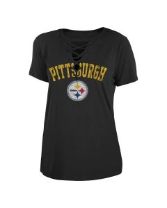 Pittsburgh Steelers Women's New Era Short Sleeve Distressed Lace-Up T-Shirt