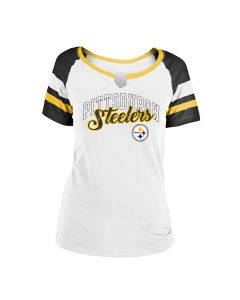 Pittsburgh Steelers Women's Notch Neck Short Sleeve T-Shirt