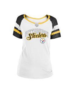 Pittsburgh Steelers Women's Notch Neck Short Sleeve T-Shirt