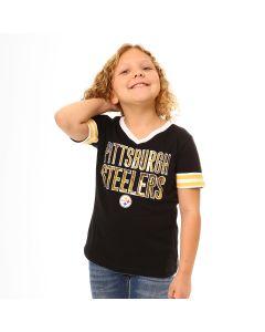 Pittsburgh Steelers Girls' Sequin V-Neck Short Sleeve T-Shirt