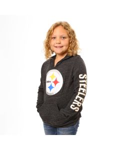 Pittsburgh Steelers Girl's Triblend Pullover Hoodie T-Shirt