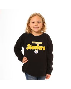 Pittsburgh Steelers Girls' Side Tie Pullover Fleece Crew