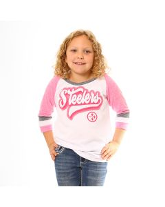 Pittsburgh Steelers Girls' Tri-Blend Jersey 3/4 Sleeve Pink T-Shirt
