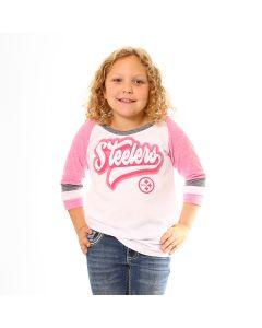 Pittsburgh Steelers Girls' Tri-Blend Jersey 3/4 Sleeve Pink T-Shirt