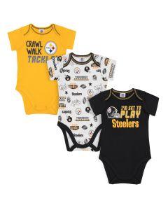 Pittsburgh Steelers Infant Boys' 3 Pack Short Sleeve Bodysuits Set