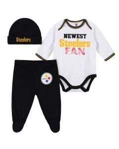 Pittsburgh Steelers Baby Boys Bodysuit, Pant & Cap Set