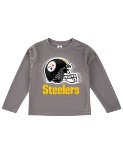 Pittsburgh Steelers Toddler Boys Helmet Long Sleeve Grey T-Shirt