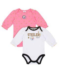 Pittsburgh Steelers Infant Girls' 2 Pack Long Sleeve Bodysuits