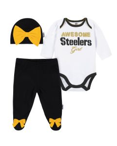 Pittsburgh Steelers Baby Girls Black & Gold Bodysuit, Pant & Cap Set
