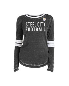 Pittsburgh Steelers Women's Long Sleeve Steel City Burn Out T-Shirt