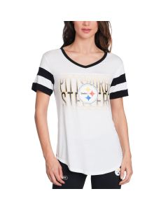 Pittsburgh Steelers Women's New Era Stripe Short Sleeve Tee