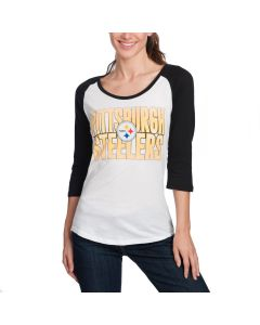 Pittsburgh Steelers Women's New Era 3/4 Sleeve Raglan Scoop T-Shirt