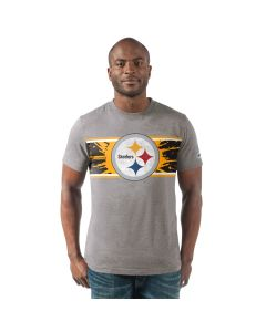 Pittsburgh Steelers Men's Short Sleeve Full Back Grey T-Shirt