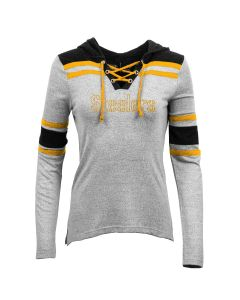 Pittsburgh Steelers Women's Tackle Lace Up Hoodie Long Sleeve T-Shirt