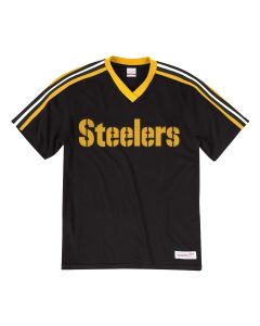 Pittsburgh Steelers Mitchell & Ness Overtime Win V-Neck Short Sleeve Tee - Extended Sizes